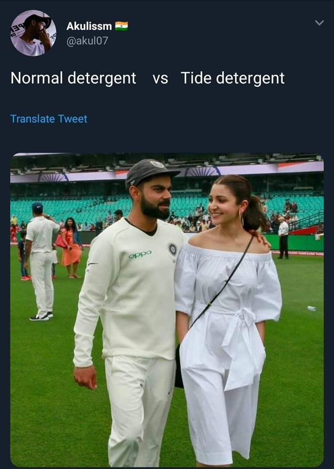 Tide vs normal detergent: Viral kohli and Anushka Sharma