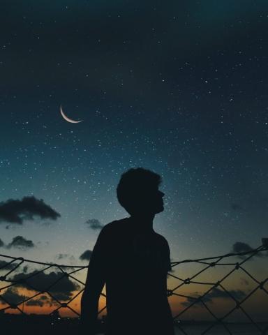 Sad Boy with Moon