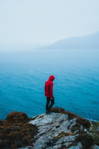 Boy Near to River or sea