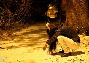 The girl start smoking because of depression and sadness