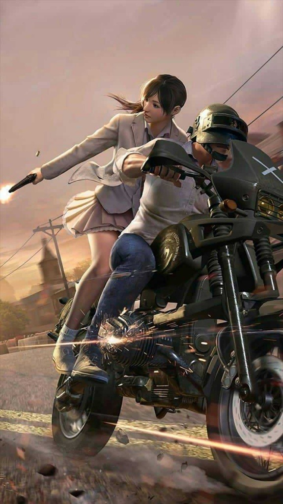 background is blur. boy and girl are on bike. boy is rideing bike and girl is fireing back. bike is in black colour. boy wear white shirt and girl is in white dress.