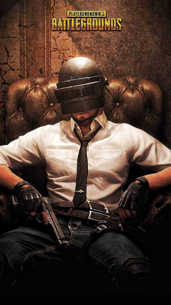boy is sit on the chair. he wear white shirt and jeans. also he have have 3rd level helmet. he have one pistol. up is the full name of the game.