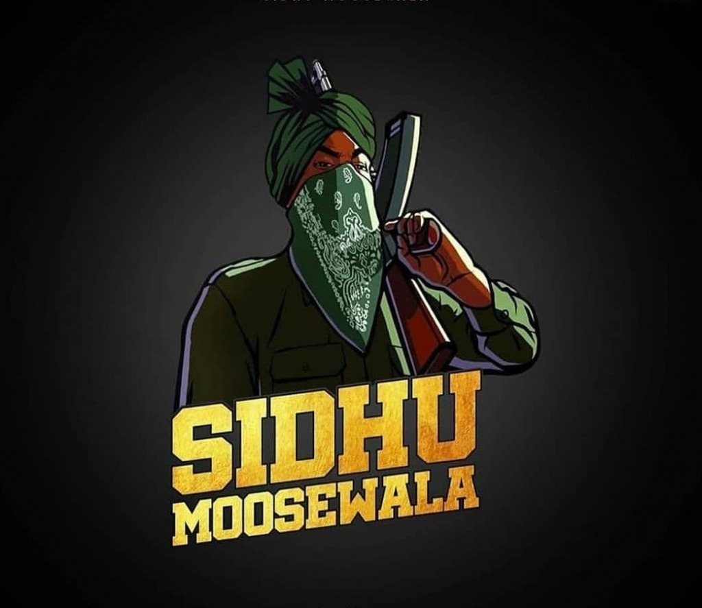 cartoon of sidhu moose wala. he wear green shirt and have a gun in his hand.  sidhu moosewala is wirte down the cartoon.