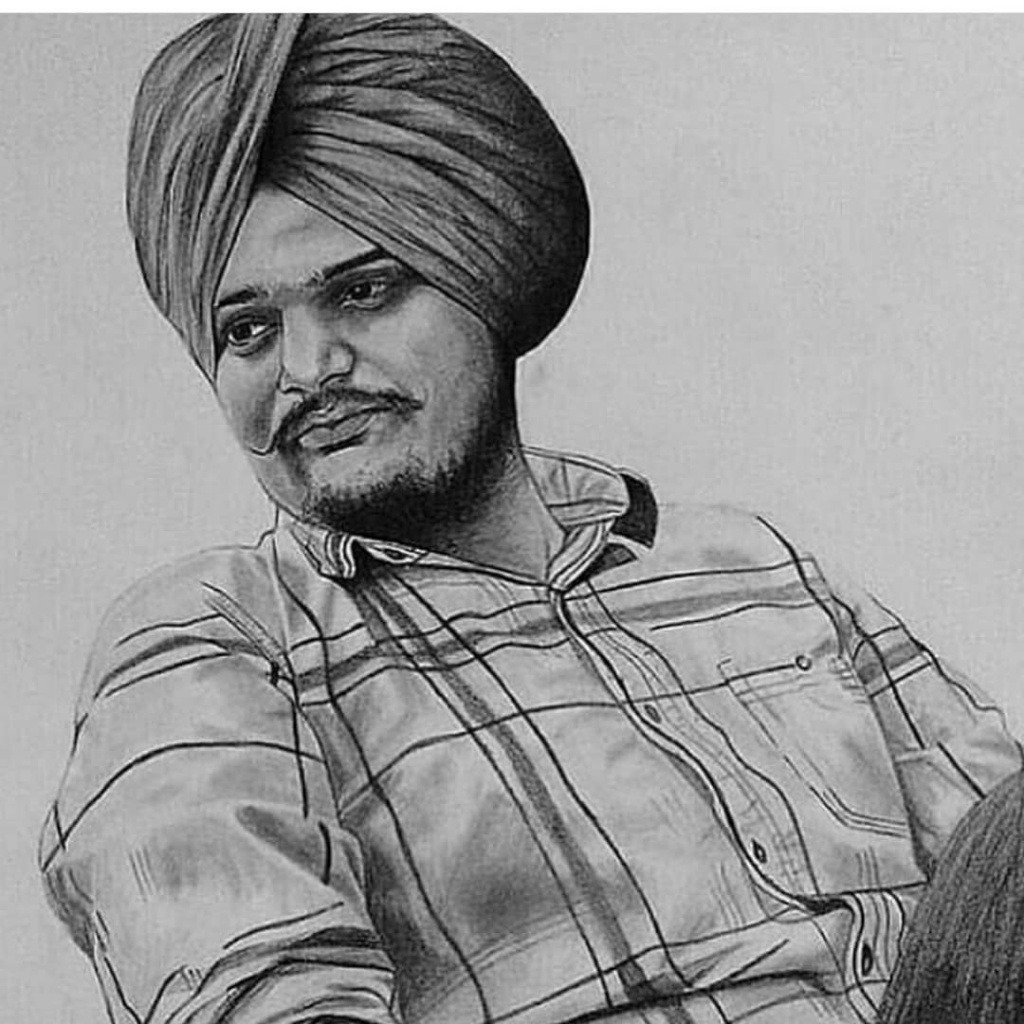 skecth of sidhu moose wala. he is sit on the chair. he wear check shirt and jeans.