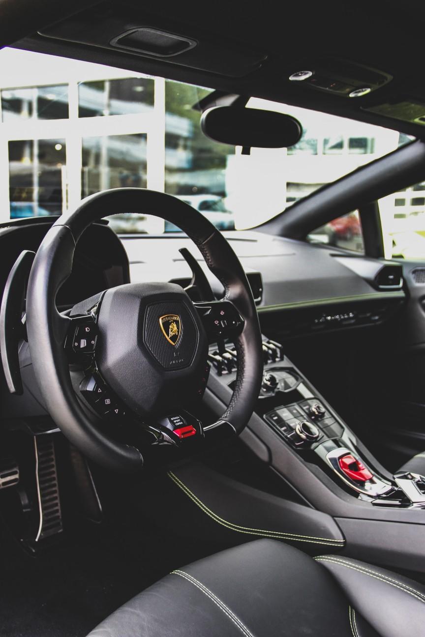 interior of Lamborghini Aventador.  black color