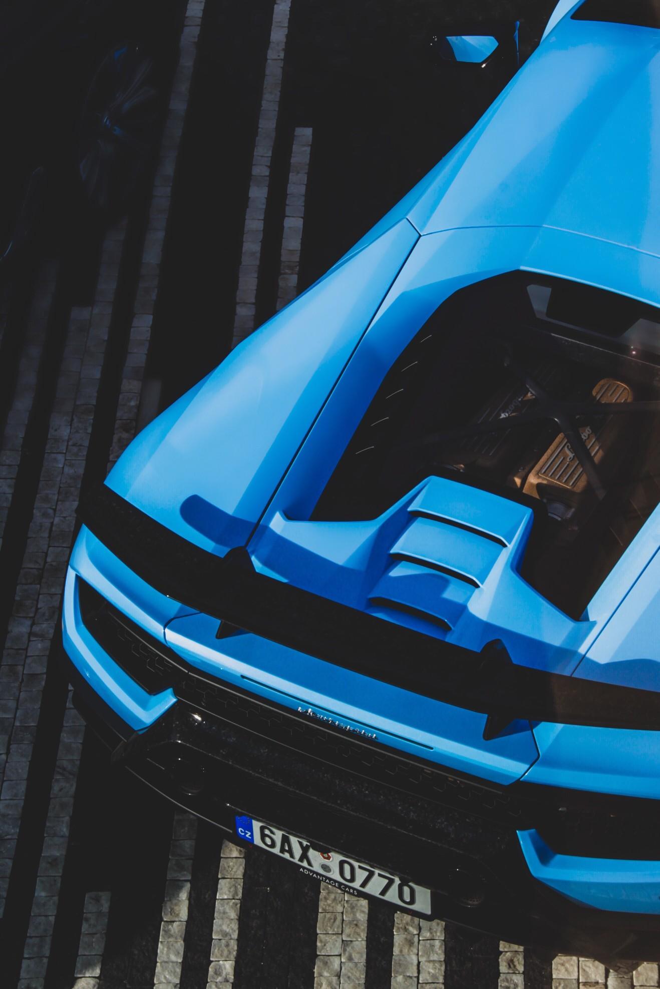 back of sky blue Lamborghini Aventador.