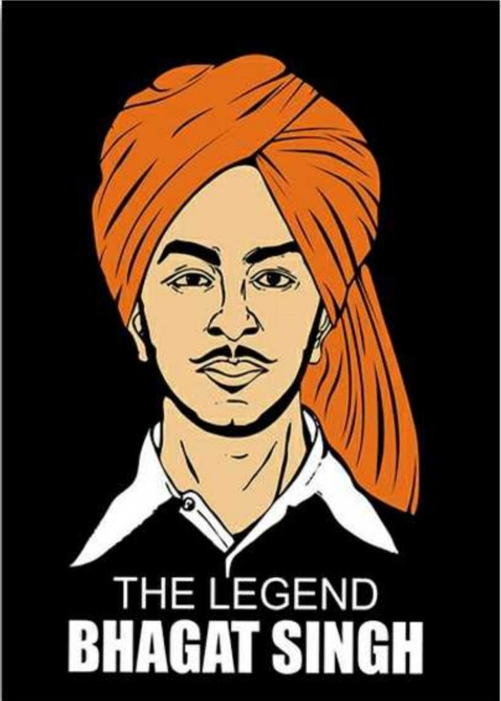 shaheed bhagat singh is on front in image. bhagat singh tie orange turban and his name the lagend bhagat singh is wirte down the the image.
