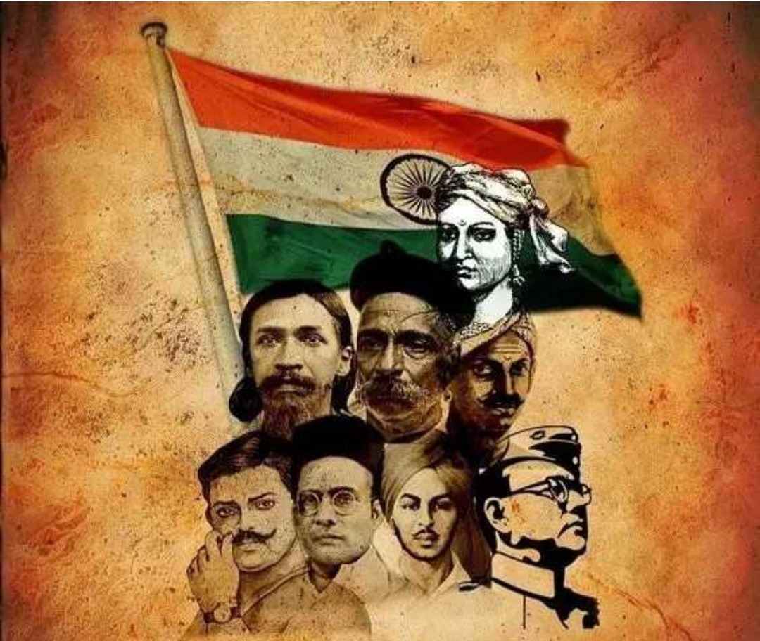 shaheed bhagat singh, rajguru, lala  lajpat rai , sarvepalli radha krishnan , lakshmi bai are in photo. indian flag is background.