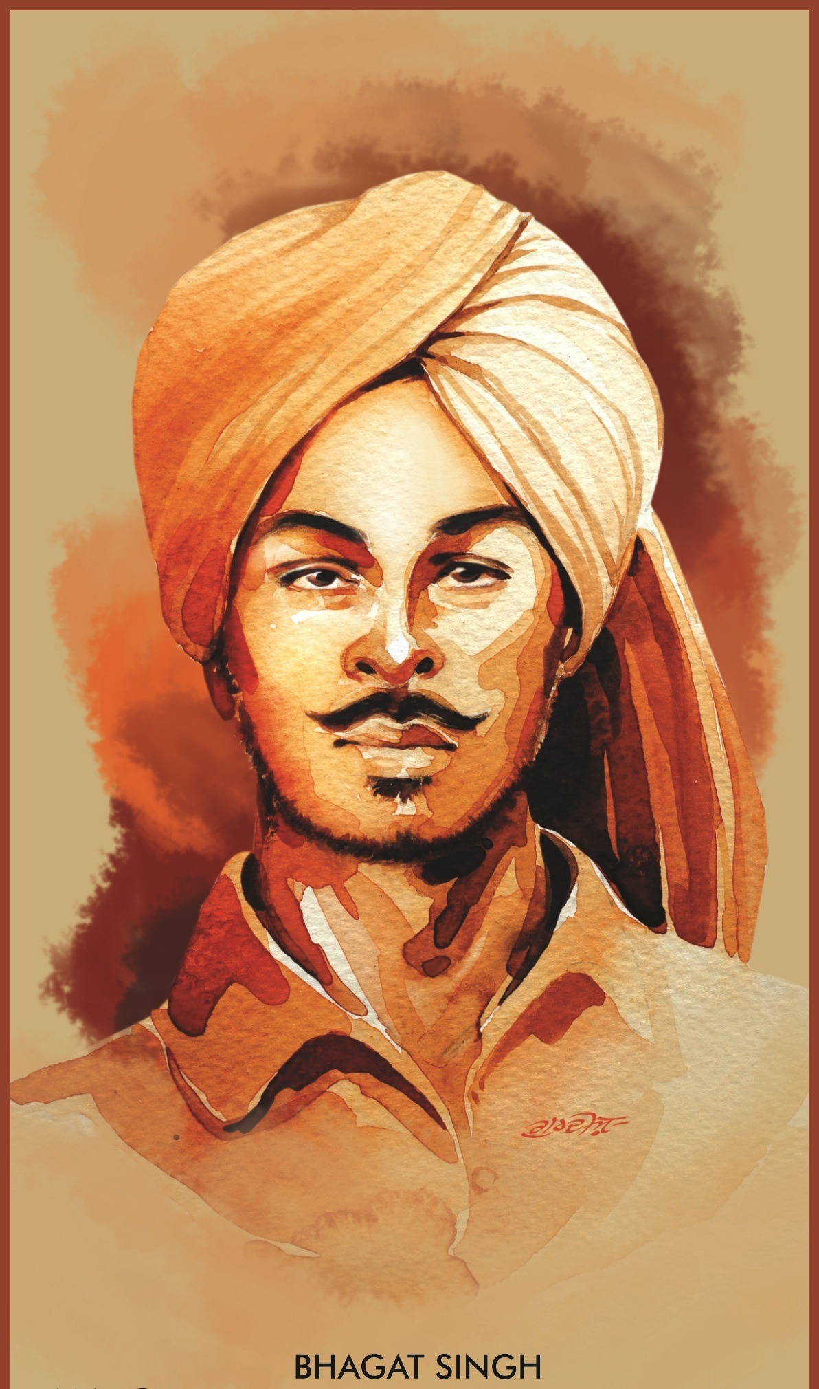 picture of bhagat singh is draw in image. name of him wirte down the photo in lack colour.