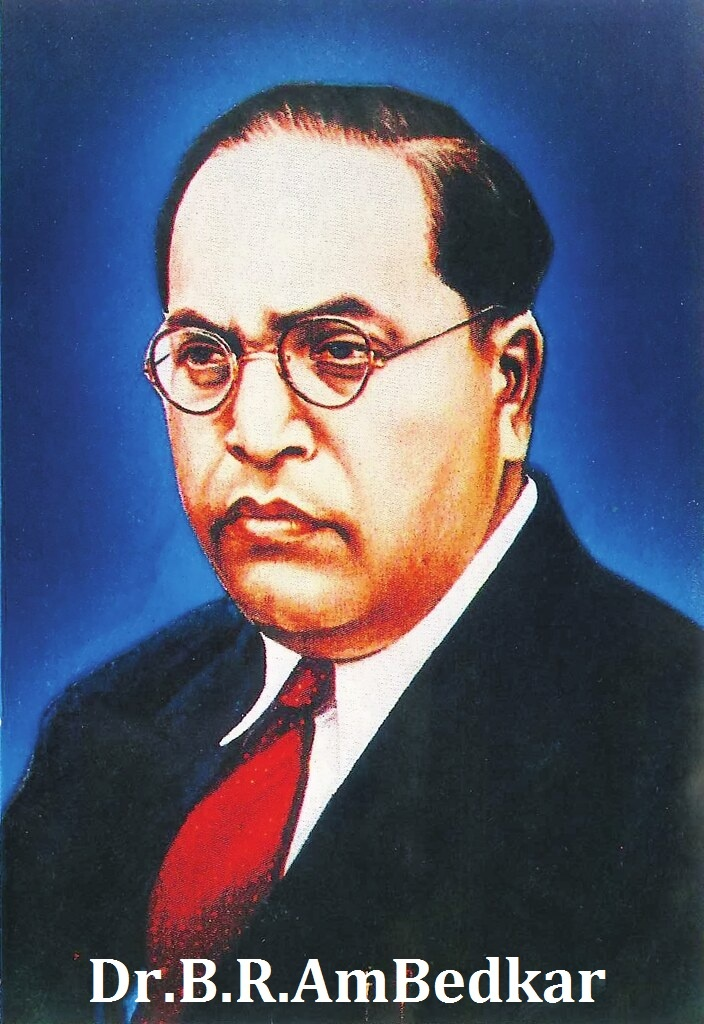 dr b r ambedkar is wirte down in image in white colour.  b r ambedkar have goggles on his eyes and he wear black and white pent coat.