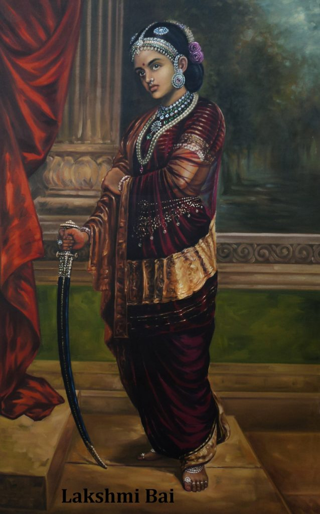 queen of jhansi laksmi bai standing near the red colth. she wear a purple saree. she have weapon in her left hand.