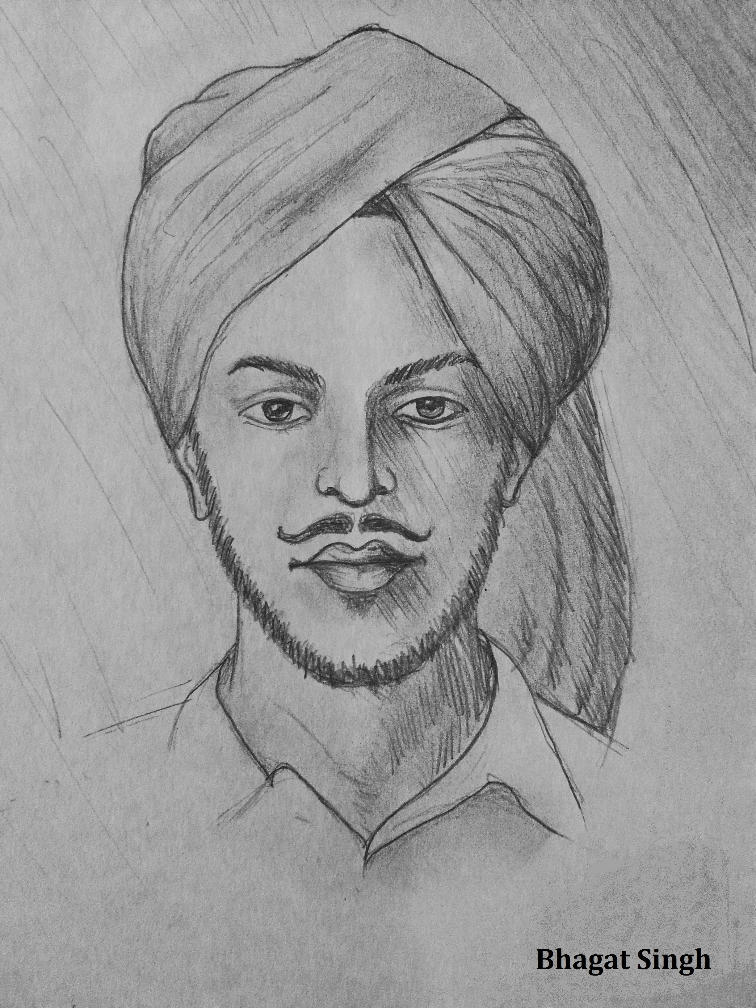 sketch of shaheed bhagat singh is in image. he tie turan. sketch is made with pencil.