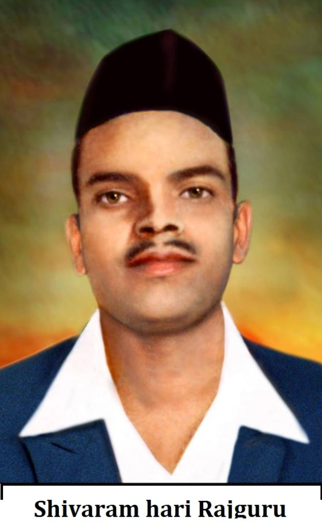 shivaram hari rajguru is wirte down  in photo. rajguru wear hat and blue  &  white coat shirt