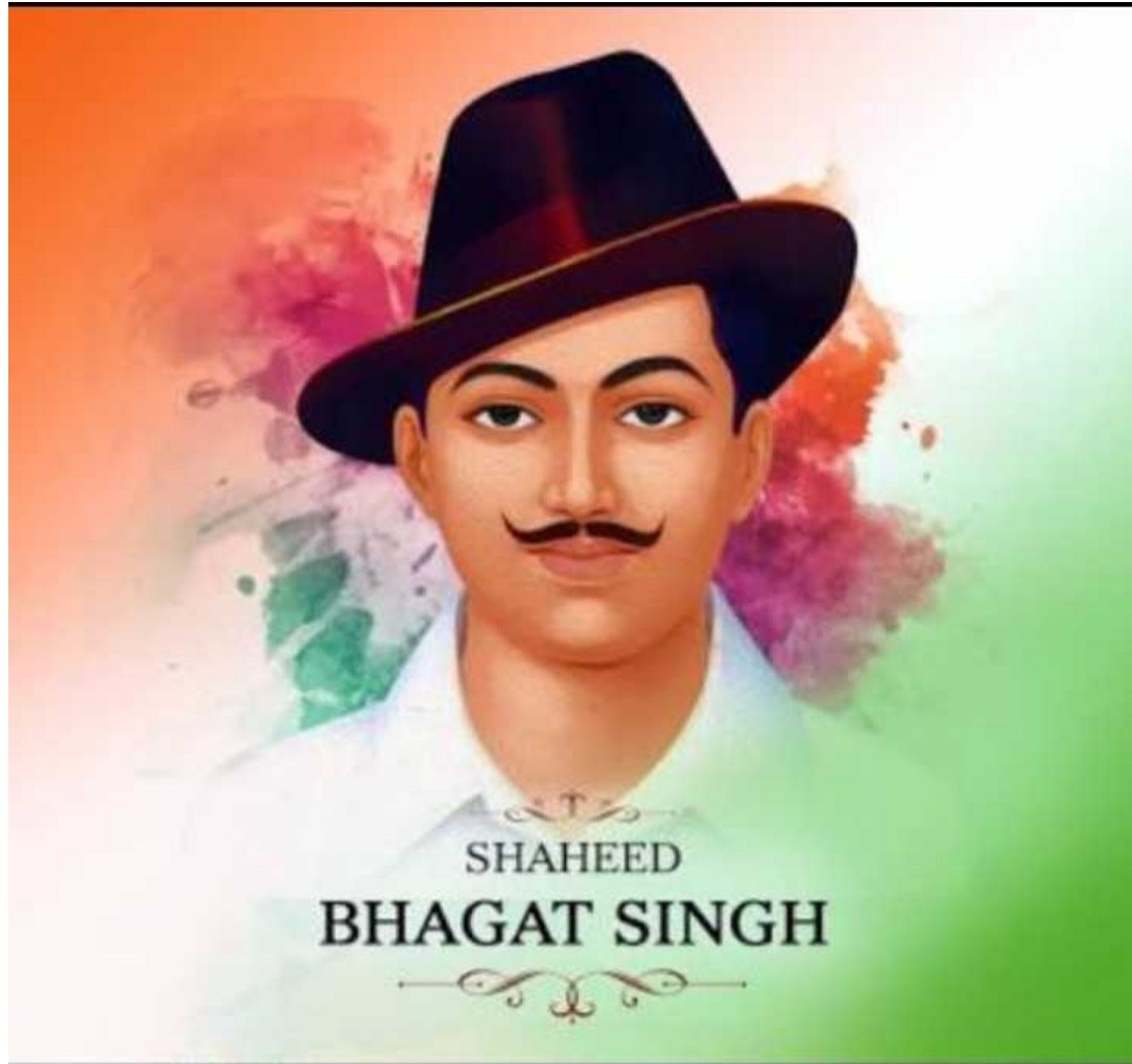image of shaheed bhagat singh is on fornt . indian flag is in background. image of bhagat is on indian flag.