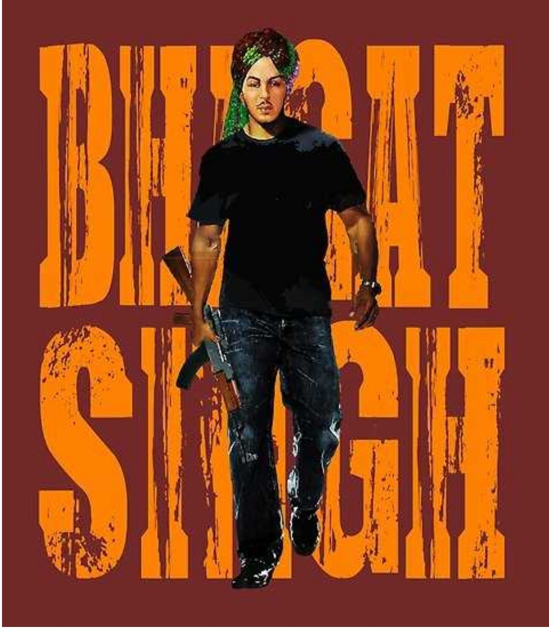 shaheed bhagat singh is coming with gun. bhagat singh wear black t-shirt and blue jeans with black shoes. he tie turban with colour of indian flag.