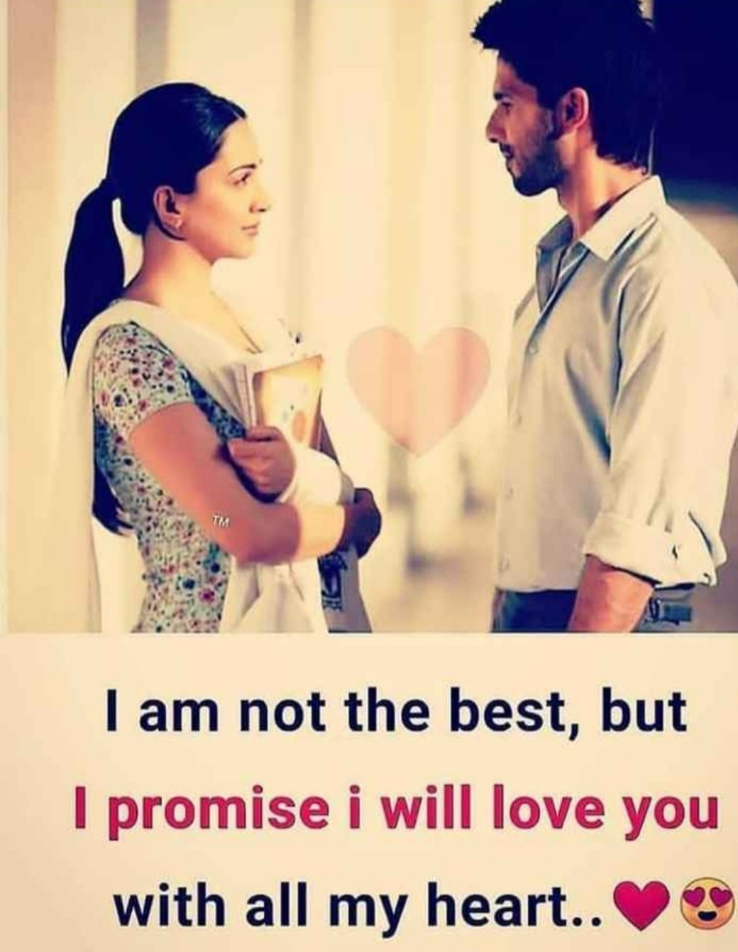 boy and Girl are standing each other. both are looking face each other. boy wear white shirt and and gray pent. girl wear colour full punjabi suit. also girl have boks in her hands. english love quote written white part down on photo.