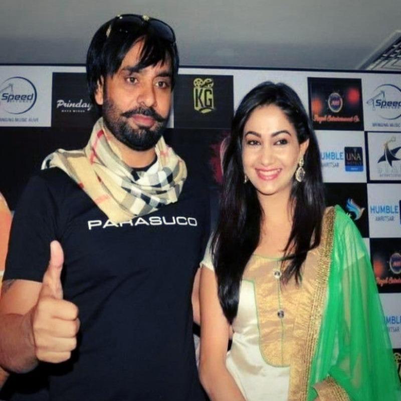 Babbu Maan with his wife Harmandeep kaur