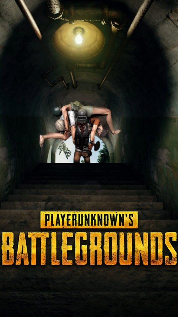 one pubg player pick two one his shoulder. he is come on stairs. playerunknown's battlegrounds wirte down the image.