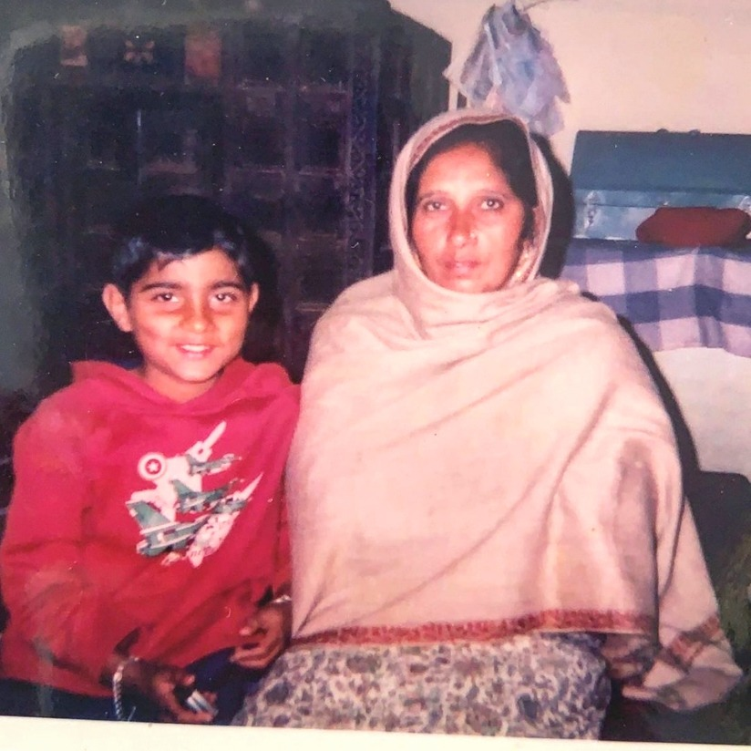 Karan Aujla with his mother childhood photo