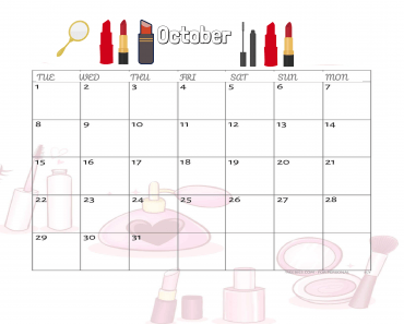 makup style october calender lipstick mirror brush etc