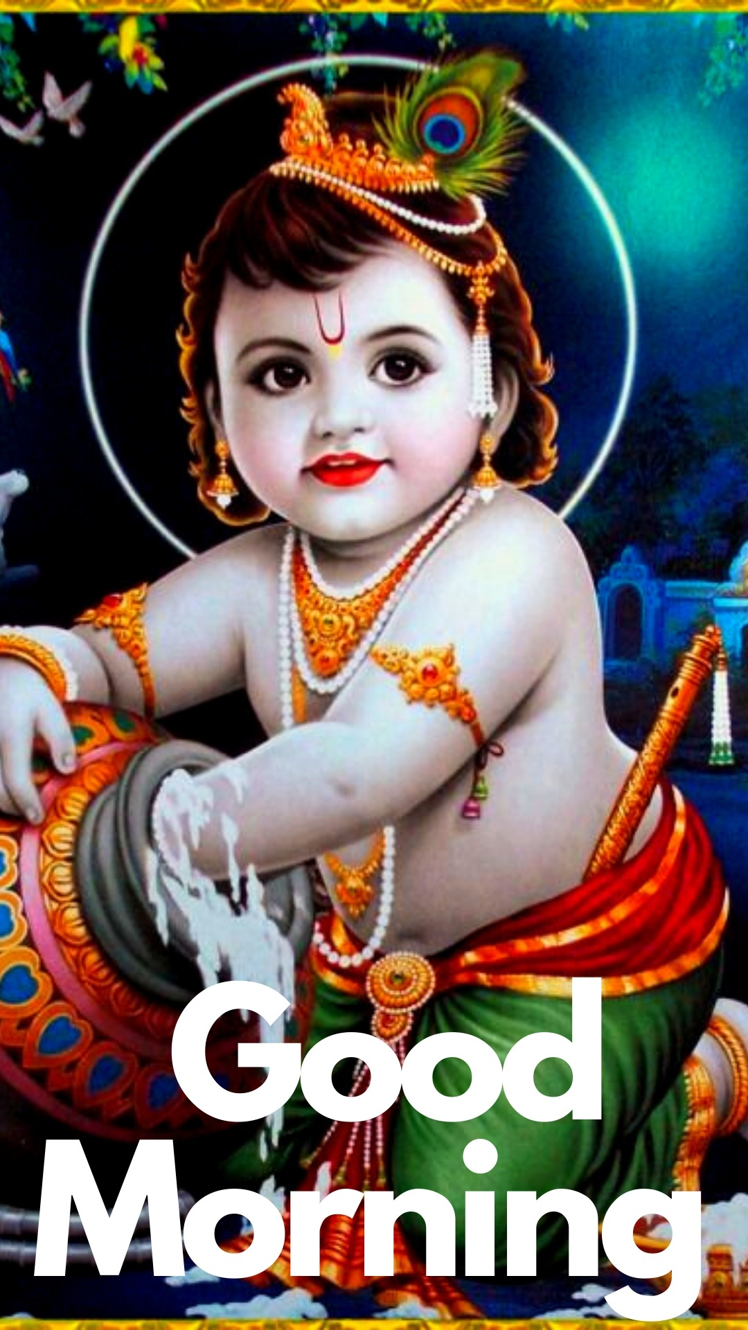 good morning images with little krishna