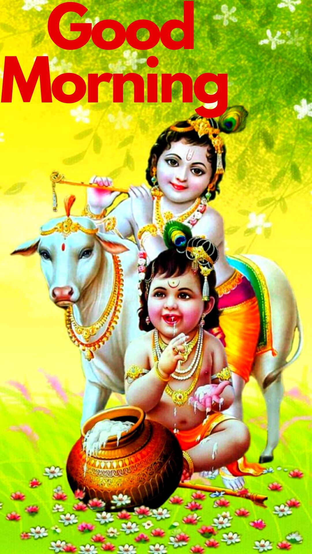 good morning images with lord krishna