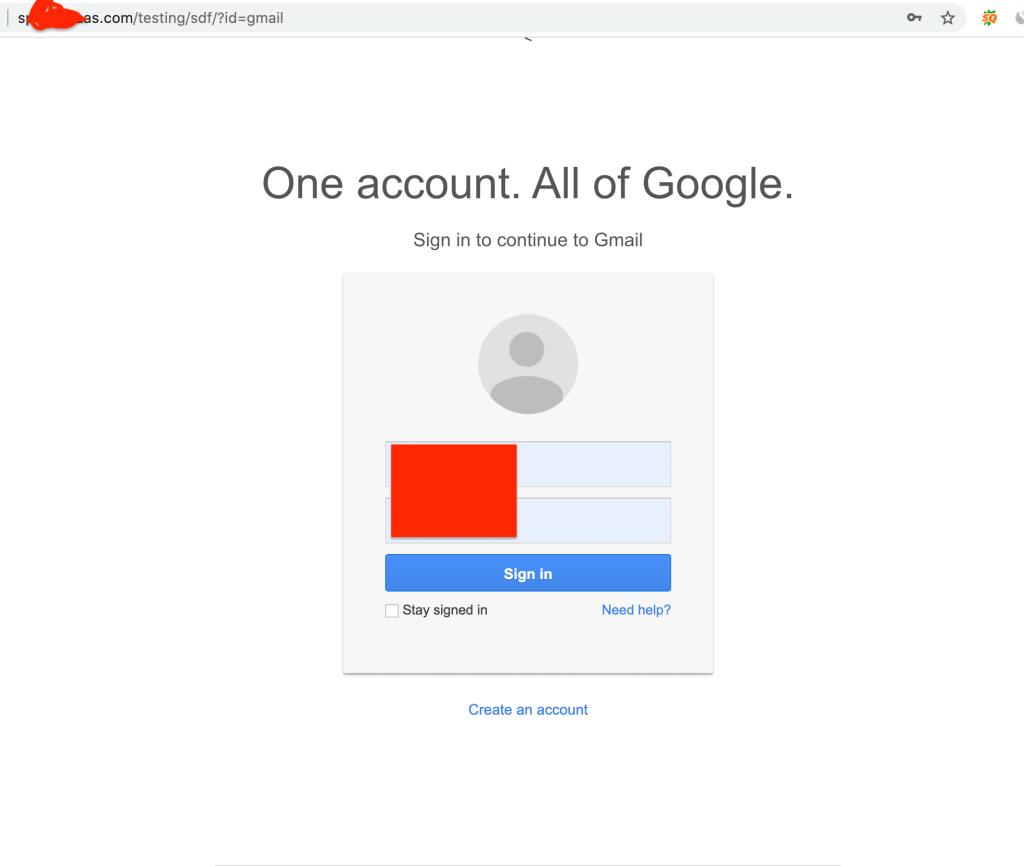 Gmail phishing page