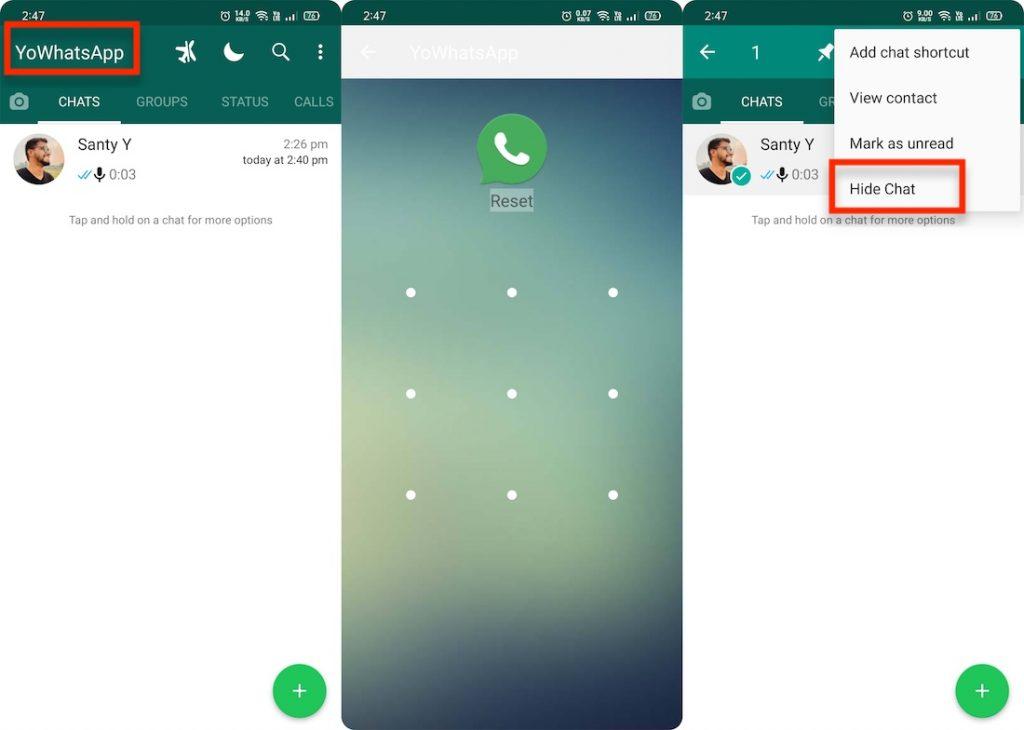 Hide chat in yo whatsapp
